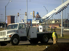 Northeast Texas Power crew replacing electrical transmission poles